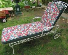 New listing Vintage Outdoor Patio Chaise Lounge Chair steel wire & mesh w Cushion adjustable