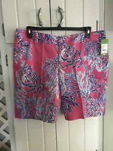 NWT Lilly Pulitzer Chipper Short Capri Pink Samba  16 Free Shipping