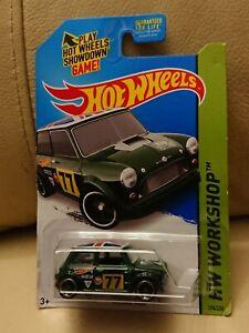 Hot Wheels Showdown Green Morris Mini 77 HW Workshop Long Card # 194 / 200  2014