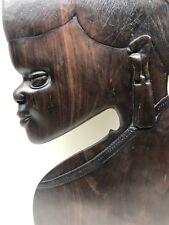 Vintage Mid Century Modern African Rosewood Carving Art Hanging Sculpture MUIA