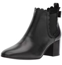 NIB Kate Spade Garden Black Leather Scalloped Back Bow Ankle Boot Size 10 $325