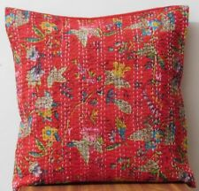 16''INDIAN CUSHION COVER CASE PILLOW KANTHA WORK PARADISE~ETHNIC THROW DECOR ART