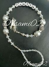 Personalised Baby Unisex ❤ Bling Dummy Clip,silver  Pearl & Crystal ❤romany❤