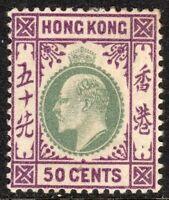 Hong Kong 1903 dull-green/magenta 50c crown CA mint SG71