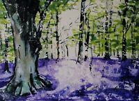 "ORIGINAL watercolour PAINTING bluebell wood Milton  14"" x 11"" Marilyn Allis"