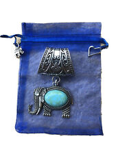 Elephant Scarf Ring Pendant With Turquoise Stone. Great Gift With Charms