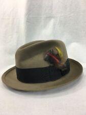 Felt Fur Fedora Hat Vintage Royal Stetson Nolton D2018 6 7/8 Tawny Brim 200 Tan