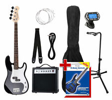 ELECTRIC BASS GUITAR E-BASS PACK AMPLIFIER GIGBAG TUNER STAND CABLE STRAP BLACK