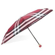 Burberry Check Folding Umbrella -  Plum