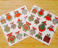 Paper Napkins Serviettes Owl Xmas White Modern Design 3 Ply Pack Of 20 sealed