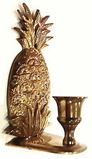 VINTAGE HEAVY BRASS CANDLE SCONCE WALL HANG /  FREE STANDING  6""