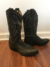 Frye Black Billy Studded Cowboy Boots 8, Pre-owned with box
