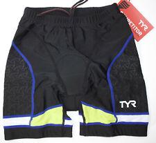 "TYR Men's Small Black Blue Shorts 7"" Triathlon Exercise Bike Pad USA Made New"