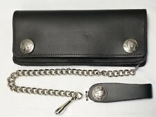 """Buffalo Nickel Large Black Leather Trucker Wallet 7.5"""" x 3.5"""" 12"""" Chain USA Made"""
