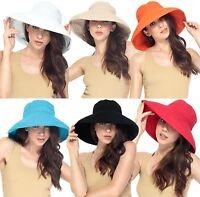 Women 100% Cotton Sun Block Protection Wide Brim Floppy Hat Cap Bucket