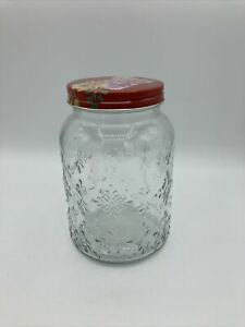 """Pioneer Woman Decorative Mason Jar Container Twist Red Floral Lid 6.5"""" Tall"""