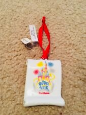 Disney Parks Happily Ever After Ceramic Scroll Ornament New With Tags