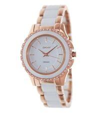 NWT Women's DKNY Westside Ceramic White And Rose Gold Crstallized Watch NY8821