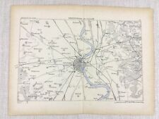 1881 Antique Military Map of Cologne Germany Fortification Line of Defense