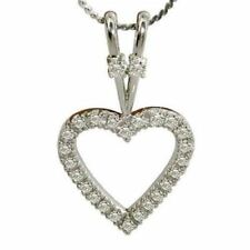 Stunning 1 Cts Natural Diamonds Heart Pendant In Solid Certified 14K White Gold