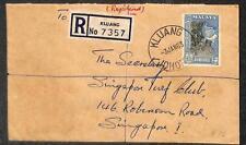 MALAYA MALAYSIA JOHORE SCOTT #165 STAMP ON KLUANG REGISTERED COVER 1963