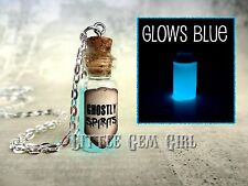 Glow in the Dark Ghostly Spirits Mini Glass Bottle Necklace Charm Glowing Liquid