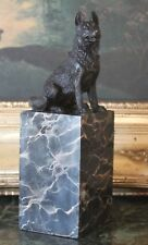 German Shepherd SAR Military K9 Police Dog Bookend Bronze Marble Statue Tribute