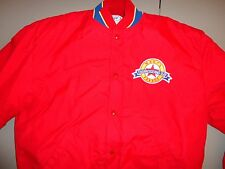 Red Lined VINTAGE Macy's THANKSGIVING PARADE Nylon SNAP Jacket  Mens M Excellent