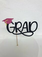 Graduation cake topper, Black Glitter Grad With Pink Hat(Mortarboard)