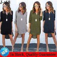 Women Blouse Chiffon Long Sleeve Ladies T Shirt Casual Loose Long Tops Dress Top