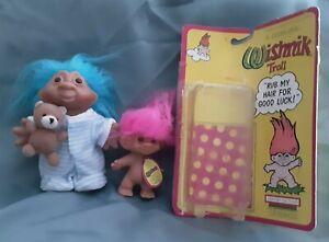 "Vintage Wishnik Troll ""Rub my Hair for Good Luck"" Pink Hair & Troll w/PJs Blue"