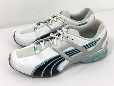 Women's PUMA Athletic Shoes White Leather Black Patent & Light Blue Trim Size 9