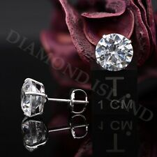 4 Ct Solid 14K White Gold Created Diamond Earrings Studs Round ScrewBack