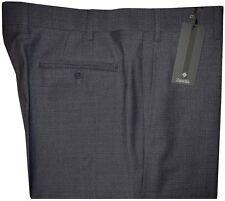 $375 NEW ZANELLA SAKS BLUE-GRAY w FAINT WHITE CHECK 120'S WOOL DRESS PANTS 42