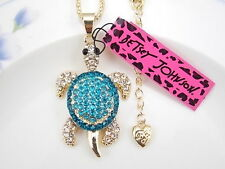 Betsey Johnson blue crystal rhinestone turtle pendant necklace # F374
