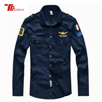 Men's Air Force Casual Shirt Fashion Military Army Long Sleeve Dress Shirts Tops