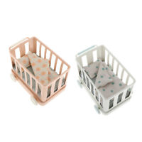 Metal Mini Dollhouse Stroller Pram 1/6 Dolls Pushchair Bed House Decoration