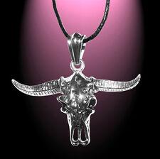 Colgante Buffalo Skull Bull acero inoxidable et NOx cadenas colgante cinta encerado