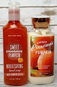 # BATH & BODY WORKS 2pc LOT SWEET CINNAMON PUMPKIN HAND SOAP & BODY LOTION (x2)
