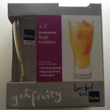 Brand New Denby Handmade glass large tumblers/ highball, two, clear glass