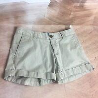 BANANA REPUBLIC Women's Flat Front City  Chino Khaki Shorts Sz 0 Petite