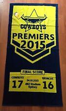 NRL NTH QUEENSLAND COWBOYS 2015 PREMIERSHIP TOWEL 76 CM X 151 CM BRAND  NEW