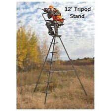 12' Hunting Stand Tripod 360 Swivel Seat Portable Heavy Duty Steel Frame