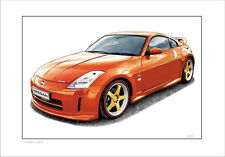 NISSAN  350Z  NISMO LIMITED EDITION CAR DRAWING  PRINT  ( 7  CAR COLOURS)