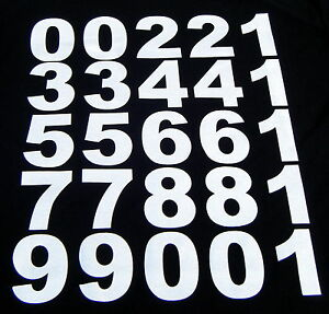 iron on  70mm.NUMBERS- in white for material,fabric. t-shirts etc.custom prints