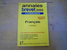 annales brevet 2002 corriges francais