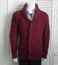 NEW Mens SIZE 2XL ALPACA Burgundy Red Shawl Collar Cable Cardigan Sweater PERU