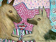Belgian Tervuren Drinking a Martini Dog Pop Folk Art Print 8x10 Signed by Artist
