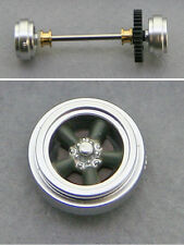 Pioneer 42 1/32 scale slot car rear axle assembly with 5-spoke wheels with caps