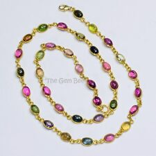 14k Solid Yellow Gold Smooth Tourmaline Oval Bezel Gemstone Necklace 17.8 INCH